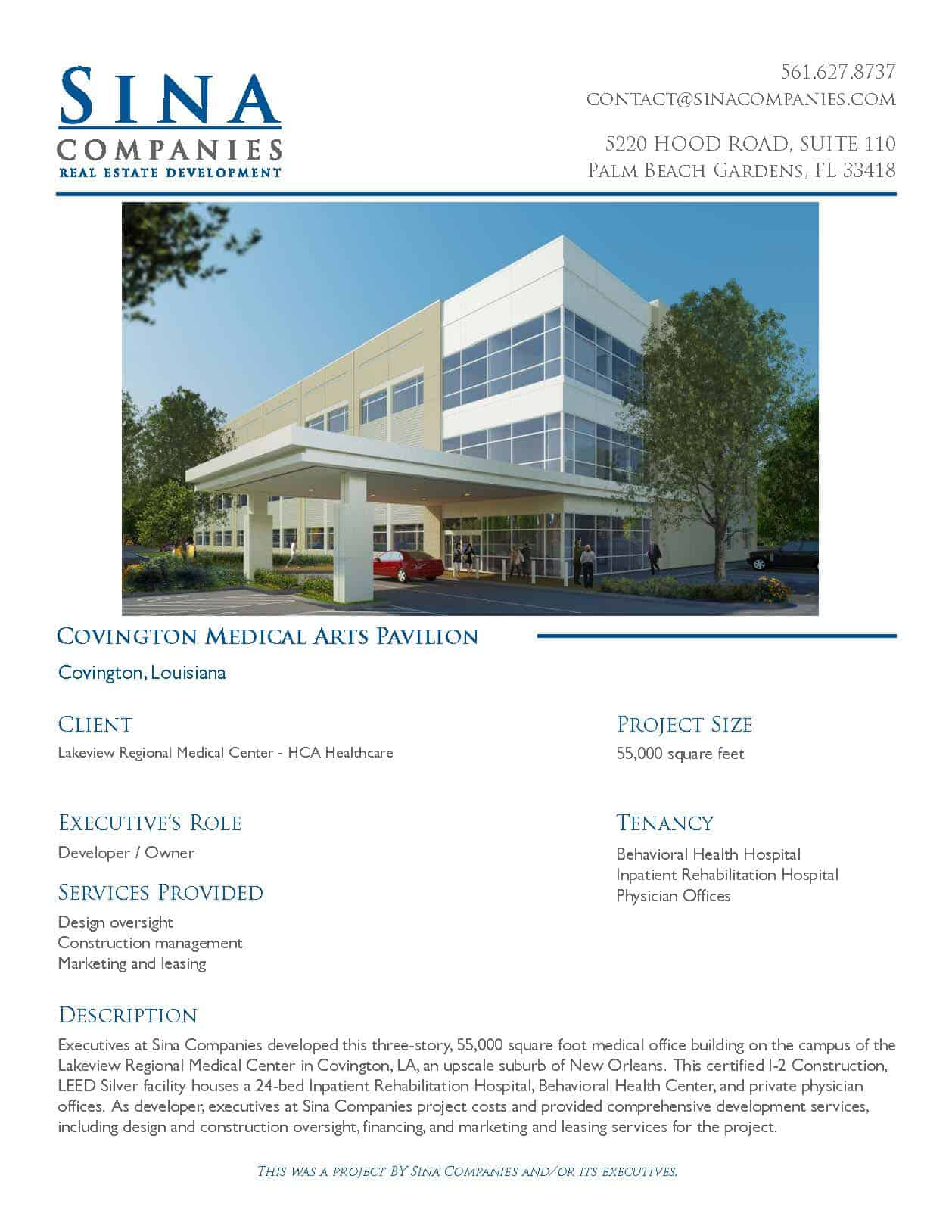 Covington Louisiana Medical Arts Pavilion Printable Case Study