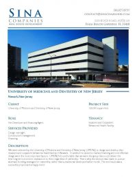 Click to download a printable page of the University of Medicine and Dentistry in NJ Project